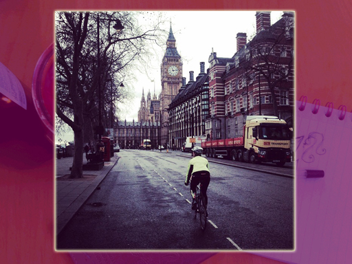 Cyclist next to Big Ben