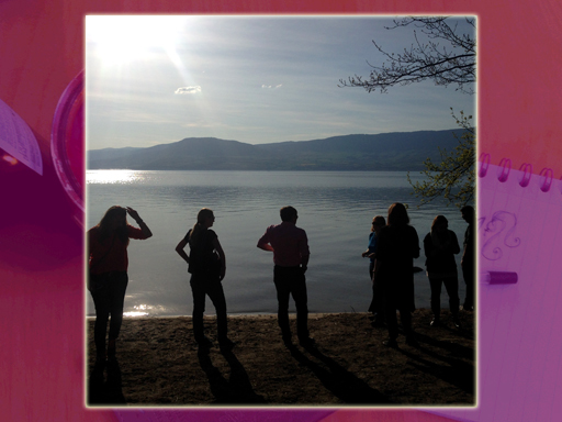 Group in silhouette, lakeside
